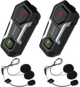 SUAOKI Intercom Moto Bluetooth T10【2019 Nouvelle Génération】2PCS Casque Kit Moto Jusqu'à 3 Cavaliers de Communication Main libre...