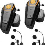 Intercom Moto Duo pour 2 Casques, BETOWEY BT-S2 Kit Oreillette Bluetooth Moto Interphone Main Libre - 2 Pack, Microphone Dur
