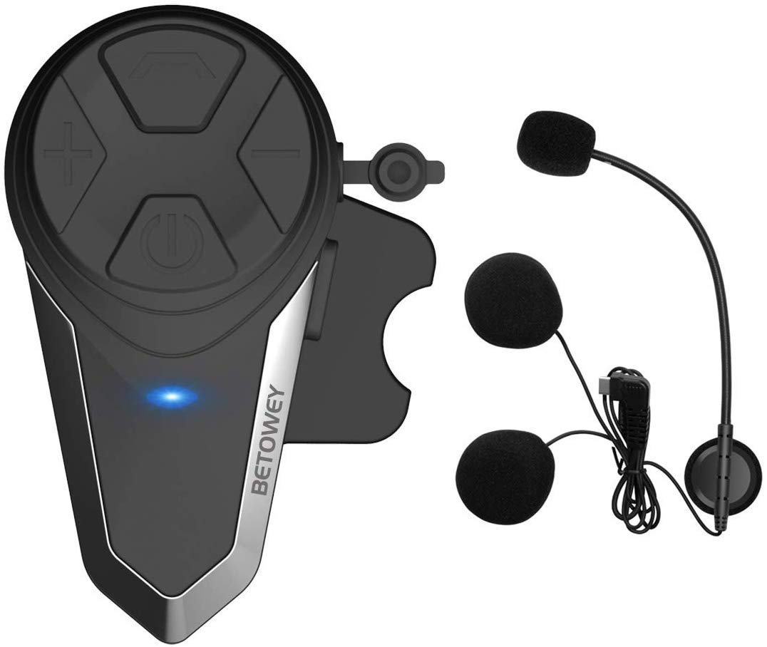 Kit Main Libre Moto, BETOWEY 1x BT-S3 Intercom Moto Bluetooth Oreillette 1000m Helmet Headset avec la Radio
